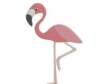 Flamingo Embroidery Design - Pink Bird Tropical (3 Sizes included with fill) Machine Embroidery Design - Motif Peeker PES, JEF, HUS, VP3