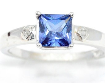 1 Ct Tanzanite & Diamond Princess Cut Ring .925 Sterling Silver Rhodium Finish