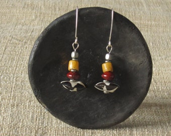 Colorful african dangle earrings, tribal bone beads earrings, african trade beads earrings, rustic earthy earrings, everyday summer earrings