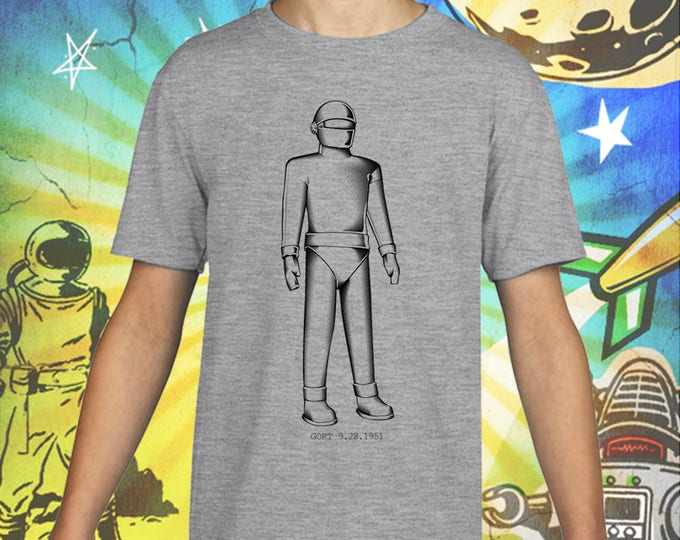 The Day the Earth Stood Still / Gort Robot in Black / Gray Child Size Performance T-Shirt