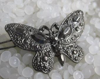 vintage barrette sweet butterfly , marcasite