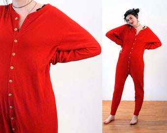 90s Red Union Suit L, Thermal One Piece Cotton Wool Long Winter Underwear Long Johns Unisex Sleepwear Duofold Christmas Pajamas, Large
