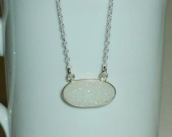 White Druzy Necklace, Sterling Silver White Shimmer Druzy Necklace - Drusy Quartz Necklace