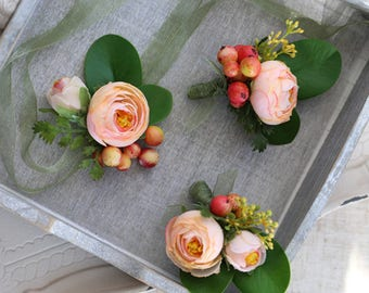Corsage & Boutonniere with Peach Silk Flower Ranunculus Jordon // Wedding / Prom / Bridesmaids