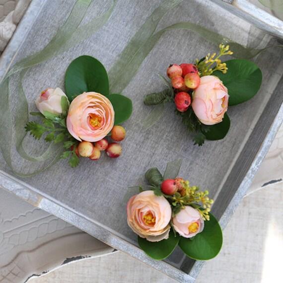 Corsage boutonniere with peach silk flower ranunculus jordon mightylinksfo