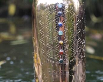 Copper Bottle. 7 chakra stones. Flower of life engraving