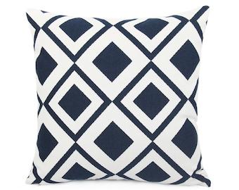 Sunbrella Savvy Indigo Indoor/Outdoor Pillow cover, Navy Blue and White Cushion Sham, Geometric Patio Cushion Cover, Diamond Design, Modern