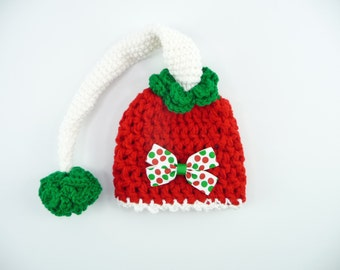 CHRISTMAS ELF HAT Baby Newborn Photo Session Prop Red Green White Xmas PomPom Hair Bow