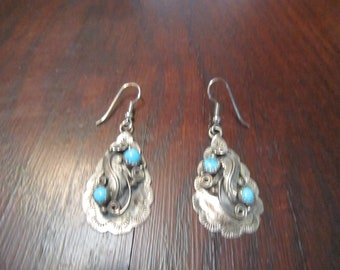 Navajo Sterling and Turquoise  Drop with Shepherd's Hooks