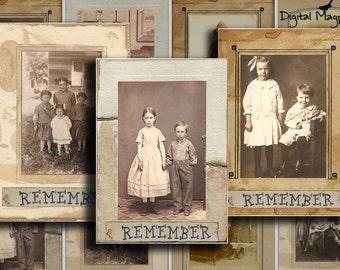 Remember Digital Collage Sheet ATC  Tags Vintage photograph printable instant download Victorian Antique vintage children 2.5 x 3.5 inch