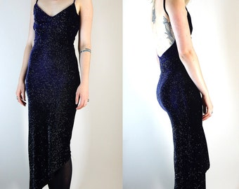 vintage 90s purple velvet dress sparkly assymetrical spaggetti strapped scoop back  evening gown small to medium prom