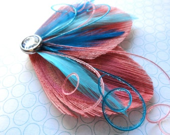 DREAM in Coral and Turquoise Peacock Feather Hair Clip, Feather Fascinator