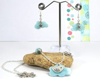 Blue cloud earrings and necklace set