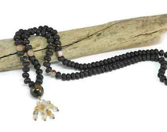 Stavrolite Necklace Mala Boho Style. Yoga. Meditation. Ideas for her. Boho Jewelry. Bohemian Necklace. Tassel Necklace