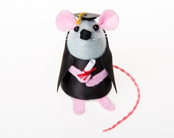 Graduation Mouse - collectable art rat artists mice felt mouse cute soft sculpture toy stuffed plush doll ornament gift for graduate - Theo