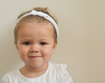 White Sailor Knot Headband - Soft Cotton Jersey Knit Handmade Headband - Great for Baby, Infant, Toddler, or Child!