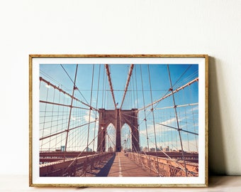 Brooklyn bridge wall art, Brooklyn bridge printable poster, instant download printable art, New York photography, Bridge wall art print