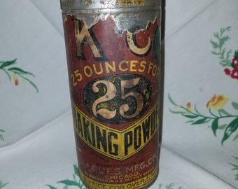 Vintage Antique K C Baking Co. Powder Tin Chicago Farmhouse Kitchen