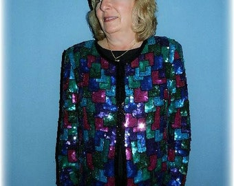Retro Vintage Plus Sequined Silk Evening Jacket in Geometric Multicolor Sequins by Laurence Kazar