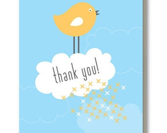 Thank You Card - Blank Greeting Card - Thank You Bird
