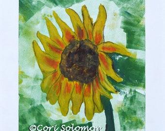 Sunflower Art Flower Monotype By Cori Solomon