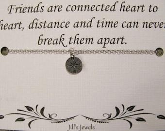 Long Distance Friendship Compass Necklace - Best Friend Necklace - Charm Necklace - Friendship Necklace - Friends Forever - Graduation Gift