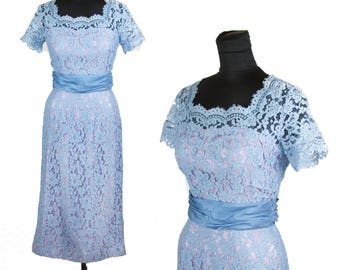 1950s Dress // Blue Lace with Lilac Lining Wiggle Dress