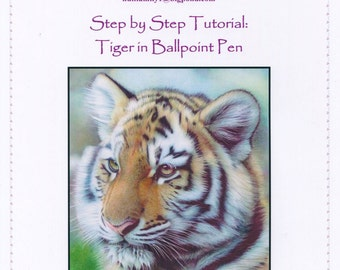 Step by Step Art Tutorial - Tiger in Ballpoint Pen on Ampersand Claybord
