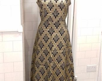 Black and gold Victor Roberts vintage evening dress