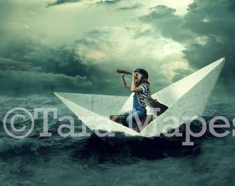 Paper Boat on Ocean Digital Background