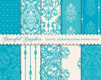 Digital Paper DAMASK Scrapbook Pack 10 Papers 8.5 x 11 Sheets Scrapbooking DELICATE Turquoise Teal White 1864gg