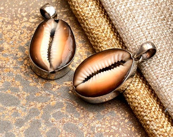 Sterling Silver Cowry Shell Pendant Large Cowry Shell Pendant Organic Pendant Natural Shell Pendant Beachy Jewelry Shell Jewelry BS17-1210B