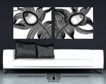 PEACOCK wall art with Swarovski® crystal & glitter, black and white decor, monochromatic art, monochrome painting, black painting Lydia Gee