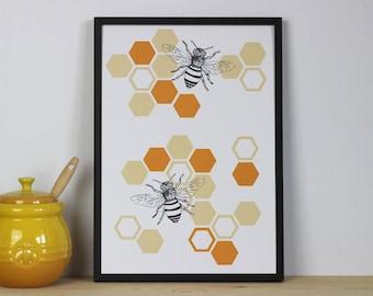 Honey bee art print - xmas gift, christmas gift, stocking filler, bee wall art, manchester bee print, manchester bee art, bee illustration