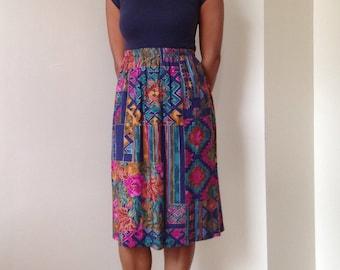 80s 90s Floral/Southwestern Geometric Print Midi Skirt