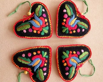 Hungarian hand-embroidered felt needle pillow, heart ornament with hanger