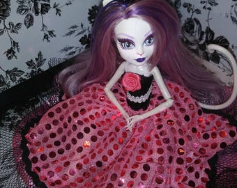 Monster High Sequin Gown Pink Black & White Halter Top
