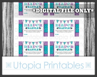 Damask Diaper Raffle Card Ticket Insert Baby Shower Teal Purple Theme Party Favor Digital Printable Aqua Blue Print At Home DIY