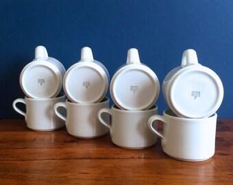 Vintage Dansk Mint Green Porcelain Coffee Mugs, Set of 8