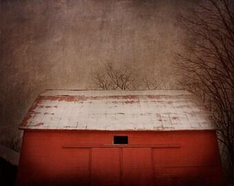 Dark Barn Photography, Moody Landscape, Red Barn, Barn Photograph, Mysterious, Dark Photography, Fine Art Print, Rural Decay, Abandoned