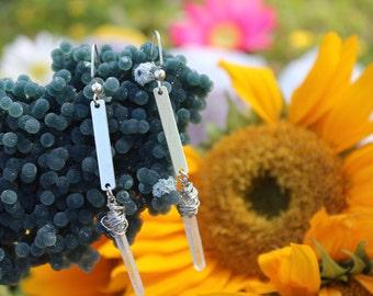 Aura Quartz Earrings-Wire Wrapped Jewelry-Every day Earrings-Crystal Earrings