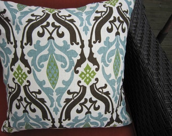 "Exquisite 18"" square Linen pillow cover in aqua blue, brown and bright green fleur de lis design with invisible ziipper."