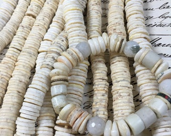 """Heishi Ostrich egg beads, Ostrich shell discs, 2 sizes, 8"""" strand,~ 120 beads, hand made, ostrich beads,disc beads,Heishi beads"""