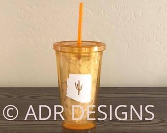 Arizona Saguaro acrylic tumbler with straw