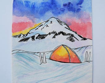 Mountain Snow Camping Ski Backcountry Wilderness January Print Bullet Journal Art
