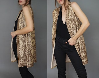 1960s Beaded Duster Jacket Vest Long | Afghan Embroidered Embellished Sequin Beaded Long Vest Jacket | Blush Tan Satin Lined | Small