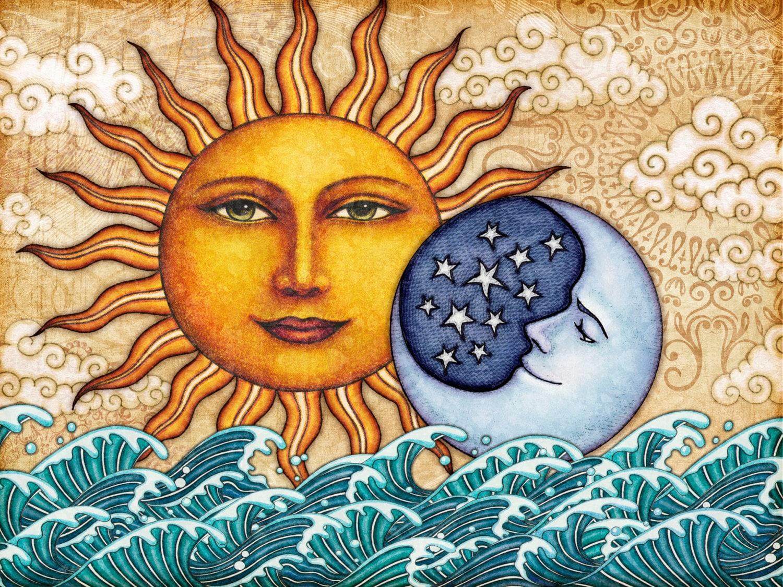 Brand-new Sun Moon Celestial Art Print Signed by Artist Dan Morris VQ42