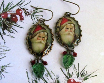 Santa Earrings, Vintage Santa Image, Santa Claus Earrings, Christmas Earrings, Holiday Earrings, Santa Jewelry, Christmas Jewelry, Swarovski
