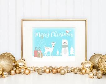 Christmas Print, Winter Animal Printable, Merry Christmas Decor, Holiday Decor, Presents, Bear, Deer, Digital Download, Instant Download