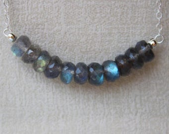 Labradorite Necklace, Blue Labradorite Necklace, Flashy Labradorite Necklace, Gemstone Bar Necklace